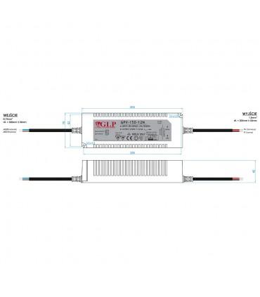 Zasilacz napięciowy hermetyczny IP67 12V 12.5A 150W GLP GPV-150-12N